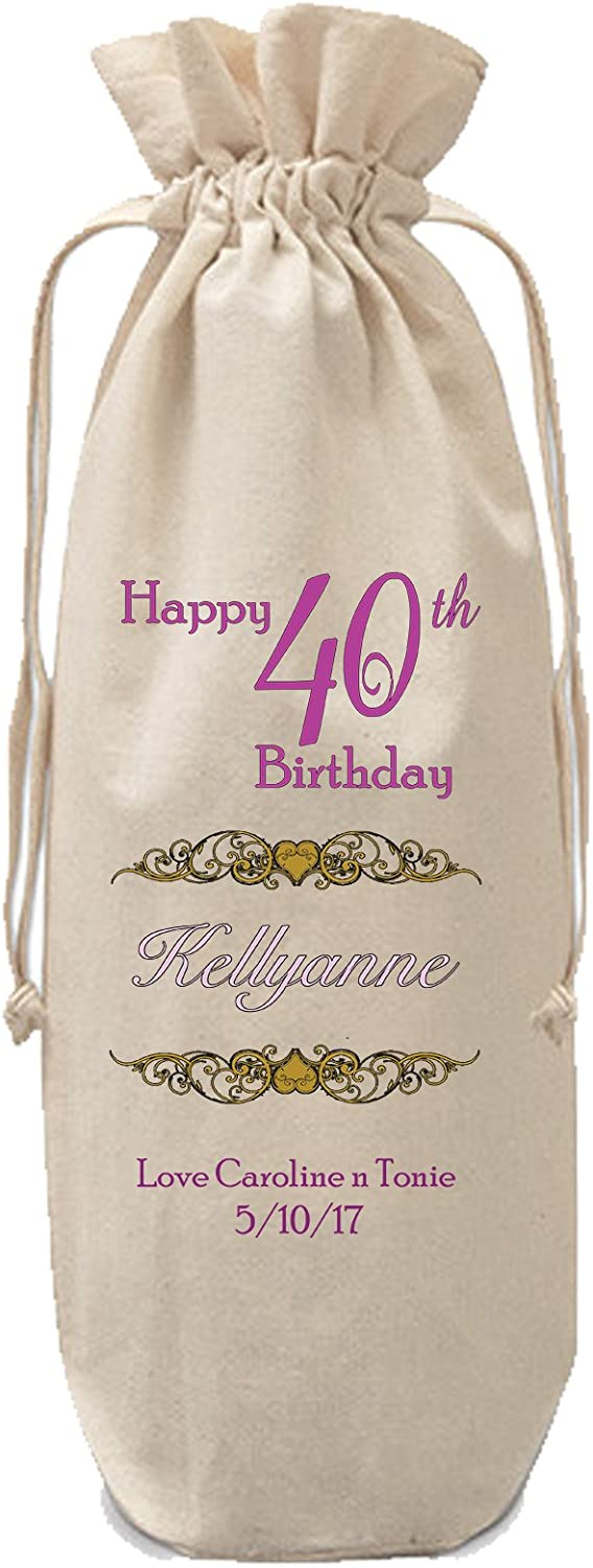 30th, Drawstring Personalised Birthday Bottle Bag Gift Champagne Wine Special Birthday Gift Pink Text