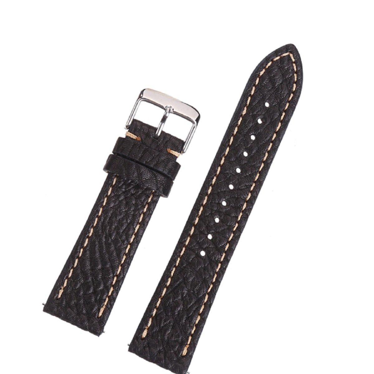 EACHE 本革腕時計バンド クイックリリーススプリングバー付き (豊富な色とサイズ) 20mm Lichee Black 20mm|Lichee Black Lichee Black 20mm B076H1HYHV