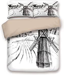 Khaki 6pc Bedding Set,Hand Drawn Rural Scenery Small Town Farm Houses Forest and Mill Romantic Sketch King Duvet Cover Set,Printed Comforter Cover with 2 Pillowcases for Teens Boys Girls & Adults