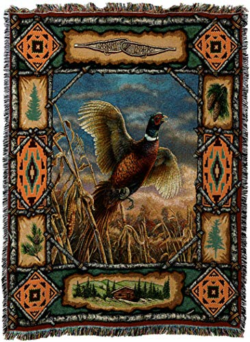 Pure Country Weavers - Pheasant Lodge Cabin Hunting Decor Woven Tapestry Throw Blanket with Fringe Cotton USA 72x54