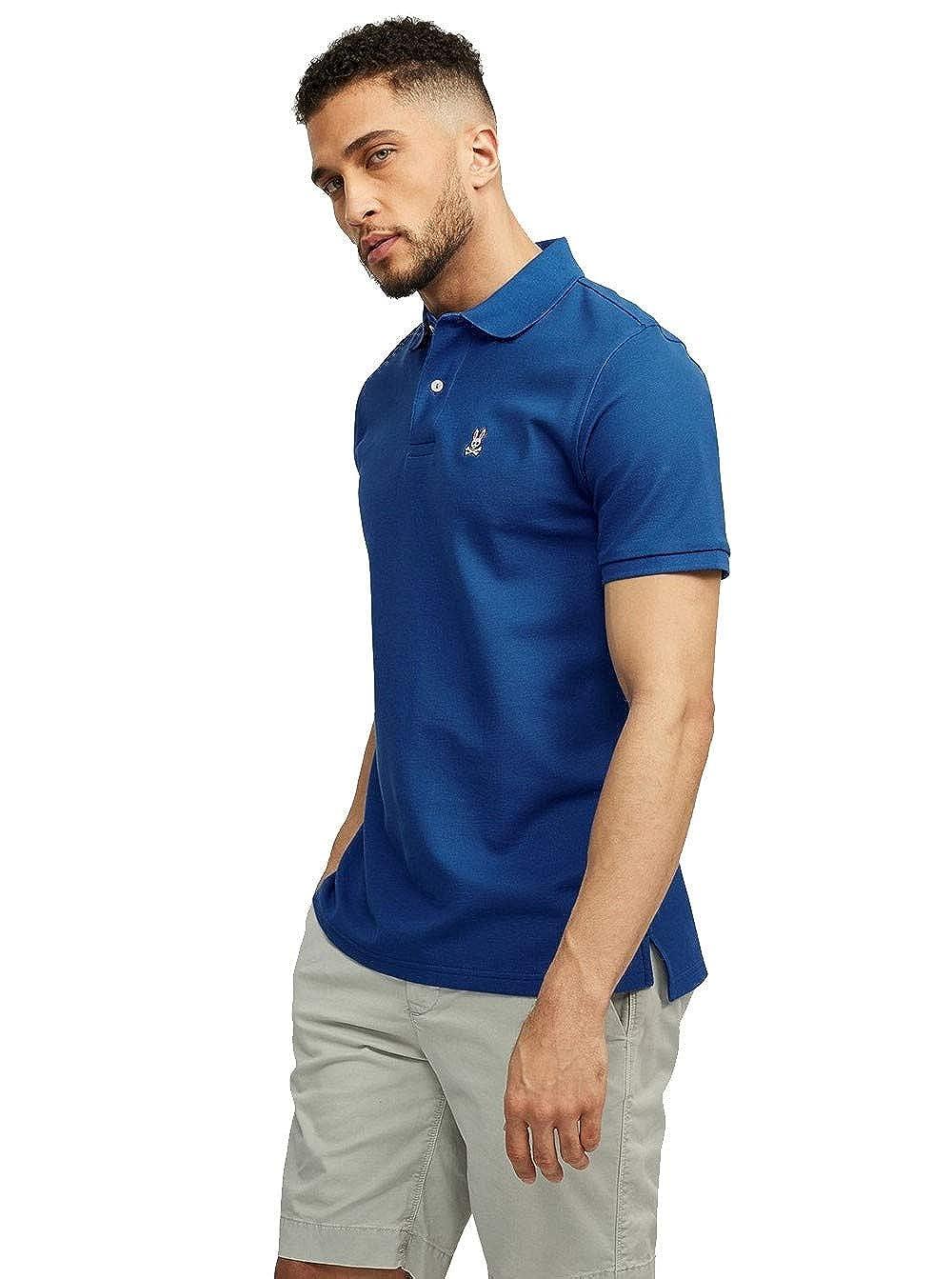 Psycho Bunny Hommes Pima Coton piqué Classique Polo Shirt Bleu XXL