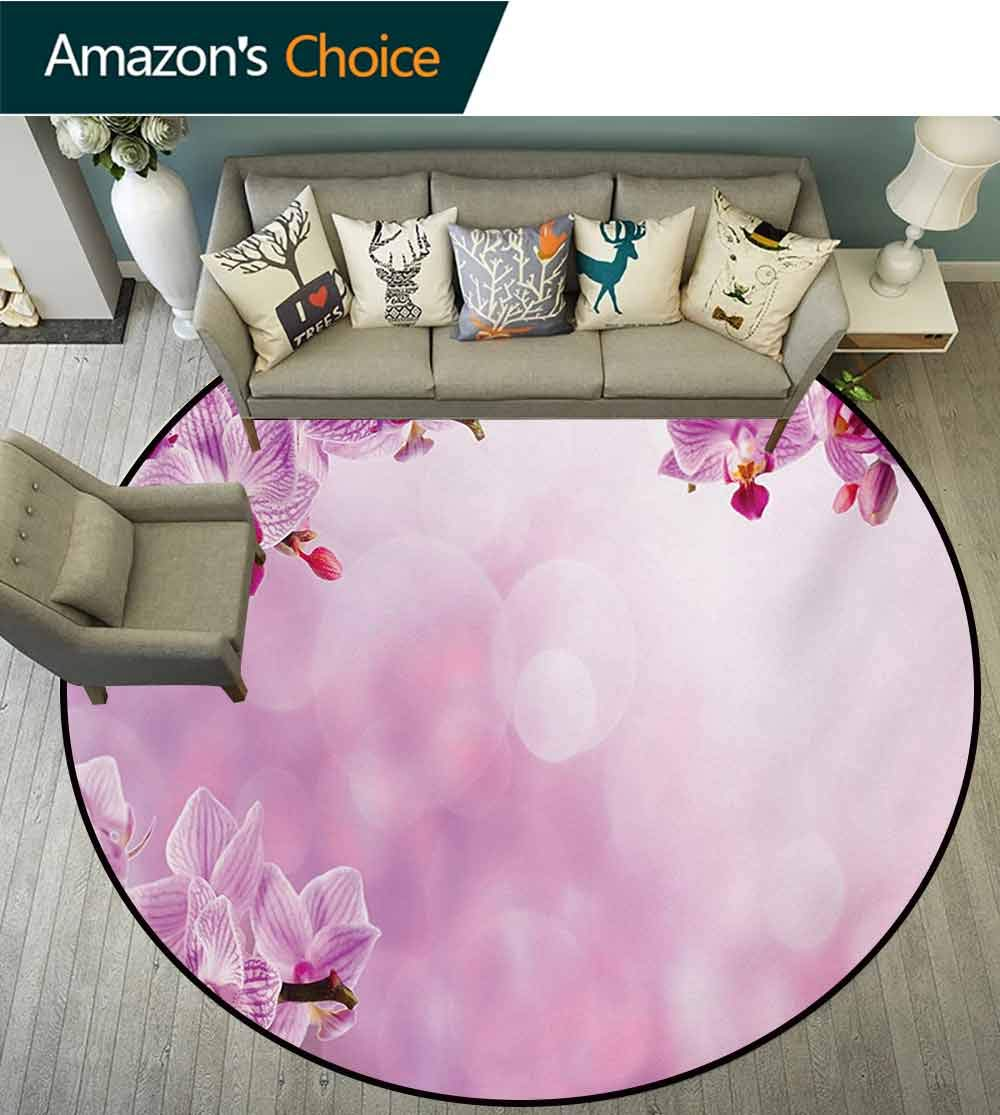 Spa Modern Machine Washable Round Bath Mat,Orchid Petals in Monochrome Design Bouquet Spring Bloom Seedling Growth Peaceful Nature Print Non-Slip Living Room Soft Floor Mat,Diameter-47 Inch