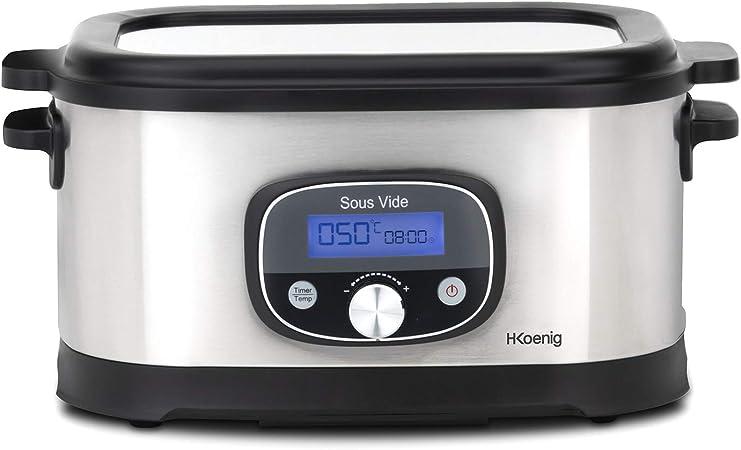 H.Koenig Olla Fuego Lento, Cocción al Vacío,520 W, 6 Litros, Temperatura ajustable hasta 90 °C, Acero Inoxidable SVCOOK40, 550, plástico: Amazon.es: Hogar