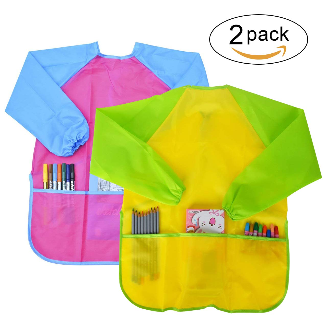 SUHOO Pack of 2 Children's Art Aprons, Kids Art Smock Waterproof Artist Painting Aprons Long Sleeve with 3 Roomy Pockets for Age 2-6 (Paints and Brushes not Included)