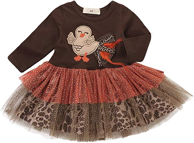 KONFA Teen Toddler Baby Girls Cartoon Turkey Leaves Dress,Little Princess Thanksgiving Day Party Skirt Clothes Set