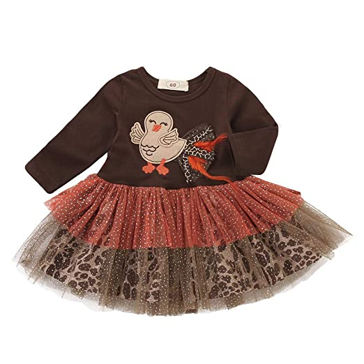 57a0810a074d GoodLock Clearance!! Baby Girls Dresses Infant Toddler Turkey Thanksgiving  Day Gauze Tutu Dress Outfits