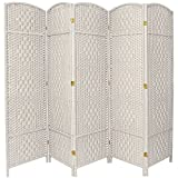 Oriental Furniture 6 ft. Tall Diamond Weave Fiber Room Divider - White - 5 Panel