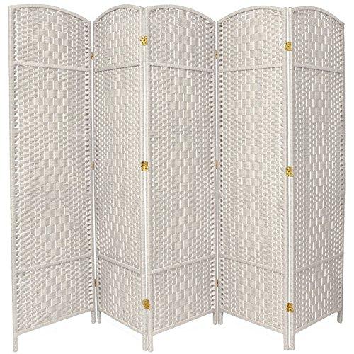 Oriental Furniture 6 ft. Tall Diamond Weave Fiber Room Divider - White - 5 Panel