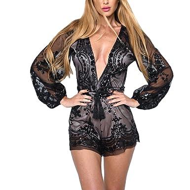 87c0150f4d7 Tidecc Women Sexy Deep V Neck Gold Sequin Jumpsuit Long Sleeve Embroidery  Transparent Mesh Romper Belt Playsuit Overalls  Amazon.co.uk  Clothing