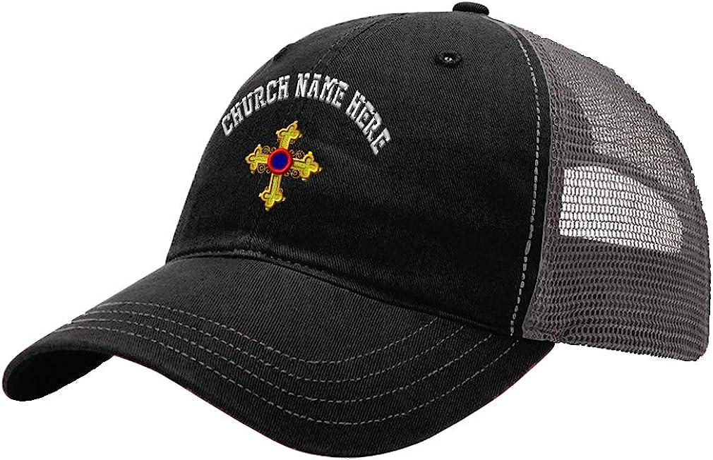 Custom Trucker Hat Richardson Cross Fish Embroidery Church Name Cotton Snaps