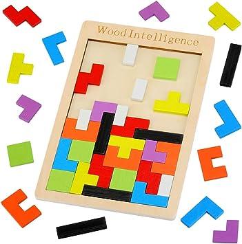 EKKONG Tetris Puzzle de Madera, 40PCS Tangram Jigsaw Rompecabezas Set, Tangram de Madera Juego de Cerebro Bloque de Construcción Inteligencia Regalo Educativo para Niños (40pcs): Amazon.es: Juguetes y juegos
