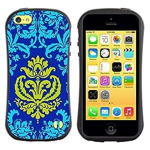 "Pulsar iFace Series Tpu silicona Carcasa Funda Case para Apple iPhone 5C , Patter Oriental Royal Blue Golden Crown Amarillo"""