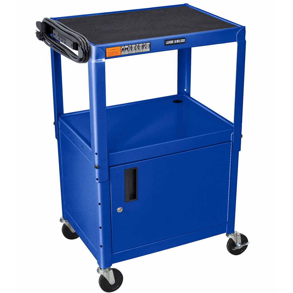 Luxor / H. Wilson AVJ42C-RB Blue Steel Adjustable AV Cart with Cabinet by Luxor/H.Wilson
