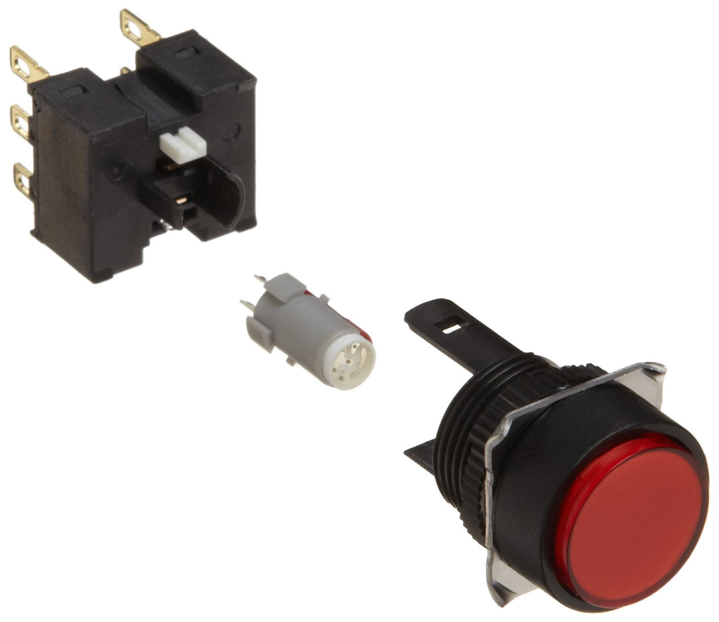 Omron A165L-TRA-24D-2 Projection Type Pushbutton and Switch, Solder Terminal, IP65 Oil-Resistant, 16mm Mounting Aperture, LED Lighted, Alternate Operation, Round, Red, 24 VDC Rated Voltage, Double Pole Double Throw Contacts