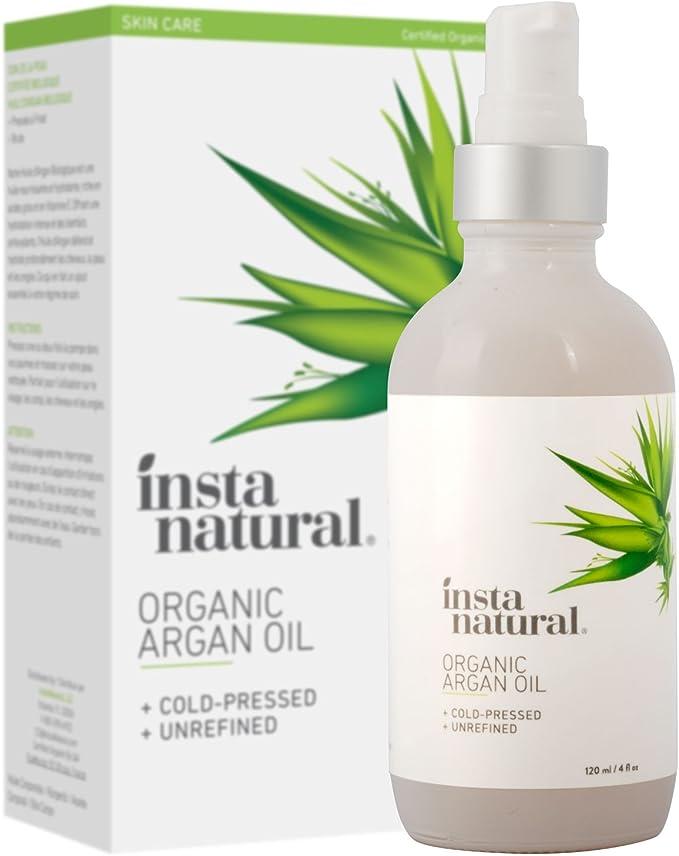 InstaNatural - Aceite de Argán Orgánico Marroquí para cara, piel, cabello y uñas, 100% Puro y Natural, Humecta y suaviza la piel y el cabello, y ...