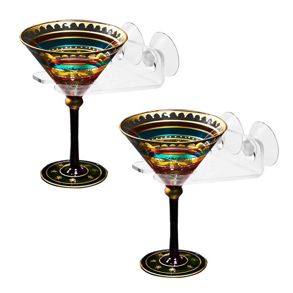 MIBOW Bathtub Wine Glass Holder,Shower Suction Cups holder,Suction Cups Acrylic stand, with Double Powerful Suction Cups,Clear Acrylic, 2PCS