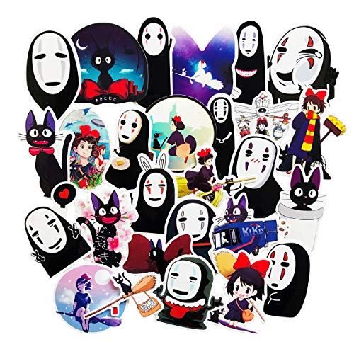 Cute Cartoon Kikis Delivery Service Spirited Away No Face Man Anime Laptop Stickers Waterproof Skateboard Pad MacBook Snowboard Car Bicycle Luggage Decal 26pcs Pack Kikis Delivery - Kiki Pad
