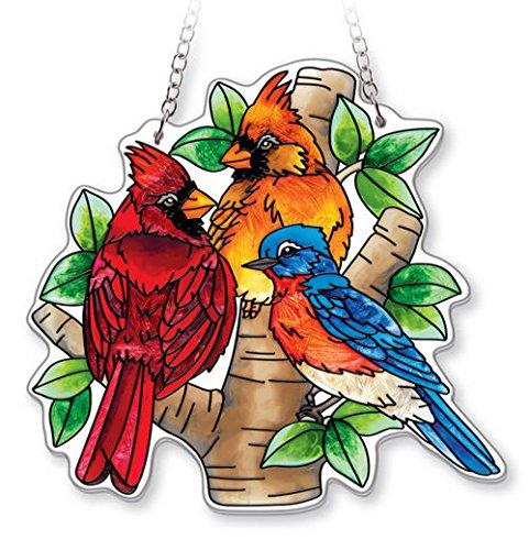 AMIA - Cardinal - Nested Birds Medium Water Cut Suncatcher Bluebird Stained Glass Suncatcher