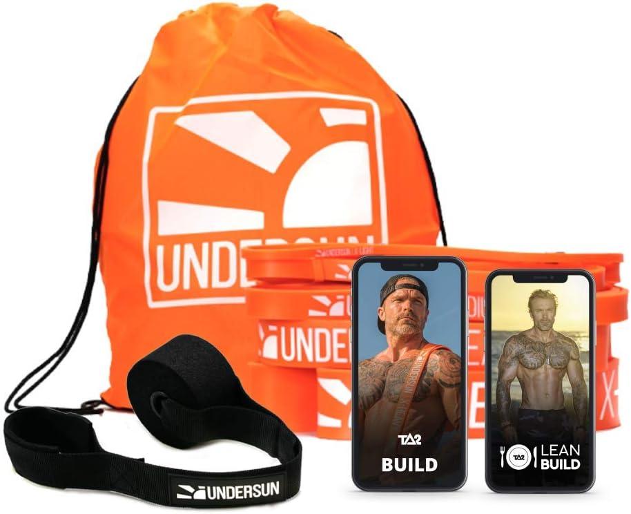 Undersun Fitness Muscle Build Home Workout Bundle - Includes 5 Resistance Bands, Workout & Nutrition Program. 5 Different Levels of Resistance Bands.