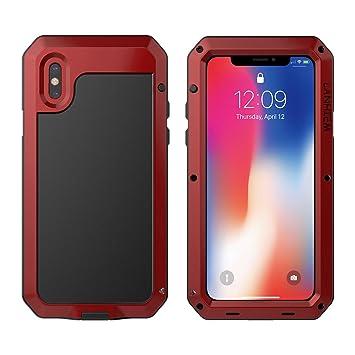 2614ca14874 Funda iPhone X, Lanhiem [Rugged Armor] Antigolpes Metal Estuche Protectora,  Absorción de