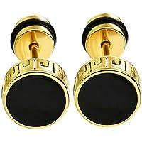 MEENAZ Fashion Jewellery Ear Rings Gold Stainless Steel Black Studs Earings Earrings for Men Boys Boyfriend BALI-M932