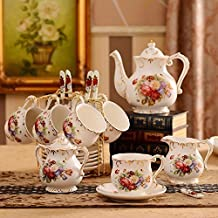 KHSKX European style coffee cup set, English cup and saucer, high grade ceramic, western style black tea cup, tea cup in the afternoon,A