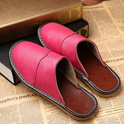 Pocartz Unisexe Qualité Véritable Cuir Maison Pantoufle Maison Intérieure Sandales Plates Chaussures Rose