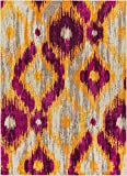Well Woven Global Bohemian Ikat Purple & Yellow Vibrant Modern Tribal Pattern 5×7 (5'3″ x 7'3″) Area Rug Contemporary Thick Soft Plush For Sale