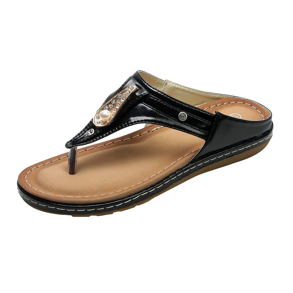 Mysky Fashion Women Summer Sweet Rhinestone Pure Color Outdoor Beach Clip-Toe Slippers