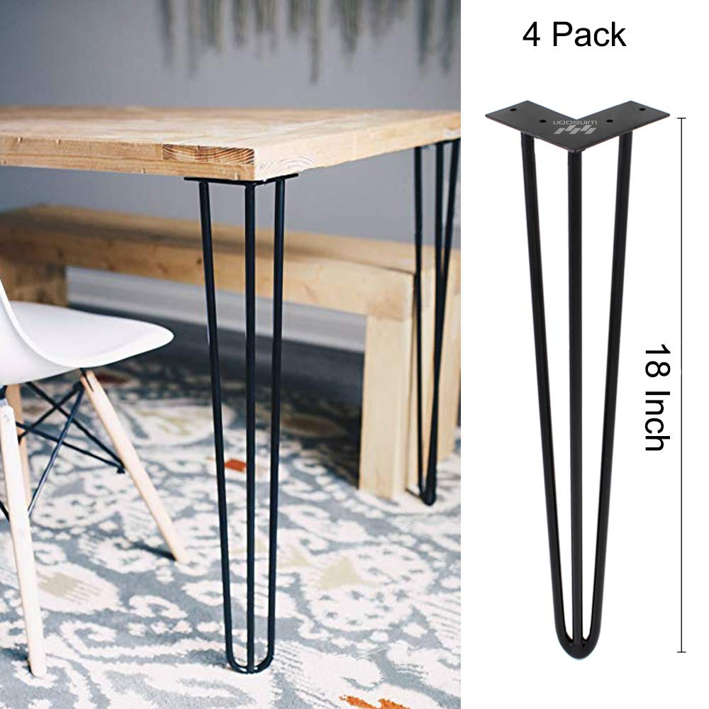 WINSOON Industrial Iron Hairpin Table Legs 18 Inch Set of 4 Pack Metal Bench Legs for Furniture feet Wooden Desk Legs Hair Pin Design (18 Inch 3-Rod Black)
