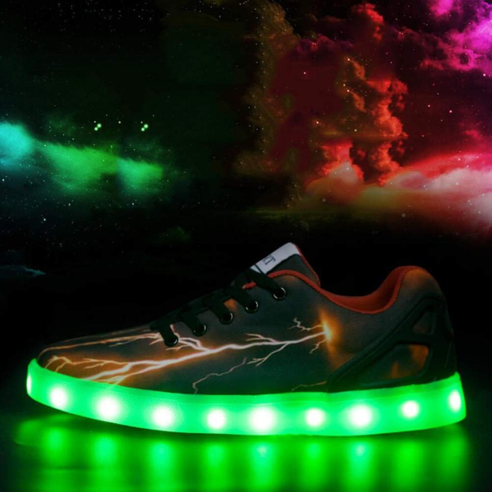 MhC Unisex Schuhe PU (Polyurethan) Frühling/Herbst Komfort/Neuheit / Leuchten Schuhe Sportschuhe Flache Ferse Round Toe Lace-up/LED Schwarz