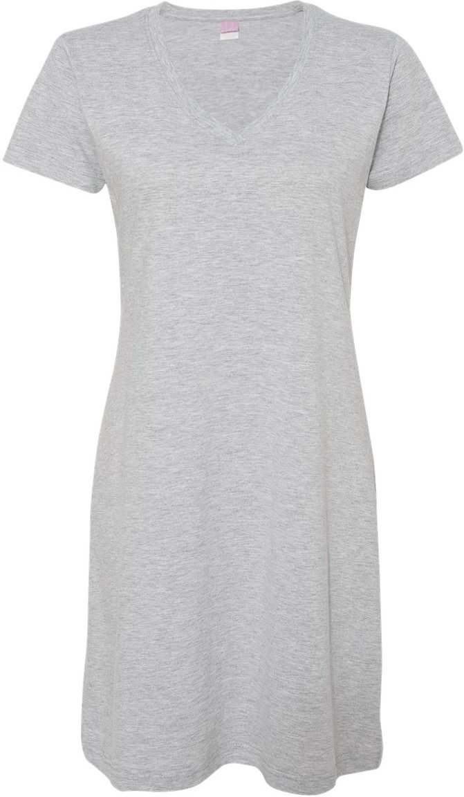 LAT Women's Fashionable V-Neck T-Shirt Dress 3522
