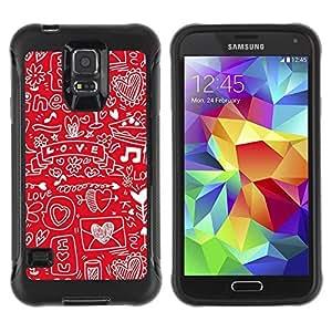Suave TPU Caso Carcasa de Caucho Funda para Samsung Galaxy S5 SM-G900 / Sketch Heart Note Music Drawing / STRONG