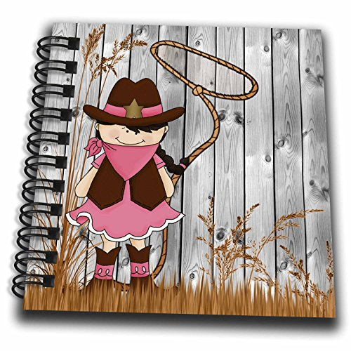3dRose Western Cowgirl with A Lasso in The Summer Grass and A White-Washed Barn Wood Background.-Mini Notepad, 4 by 4