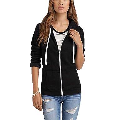 Ladies Womens Sweatshirt Plain Hoodie Zip Jacket Hooded Jumper Fleece Coat Top