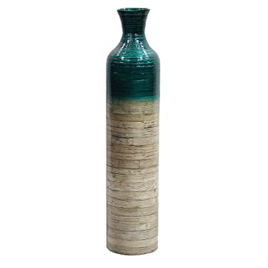 Heather Ann Creations Milano Collection Handcrafted Bamboo Floor Vase with Metallic Teal and Natural Bamboo Finish