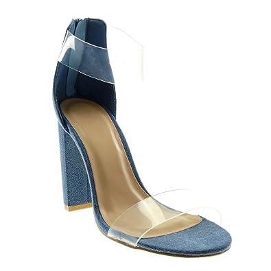 Angkorly Damen Schuhe Knöchelriemen Sandalen Pumpe Knöchelriemen Schuhe Jeans Denim 821a27