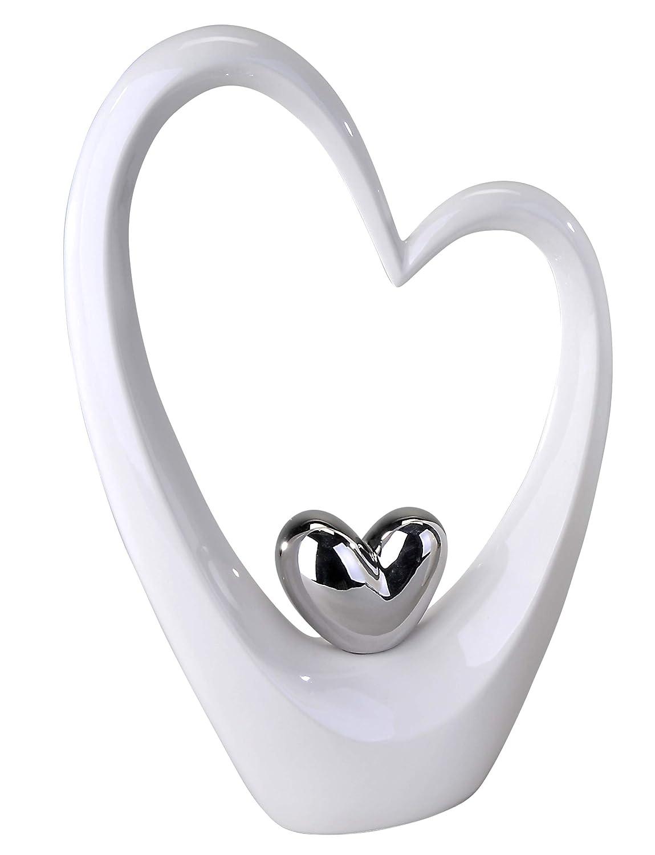 Scultura moderna forma unaltezza bianco//argento cuore cm 37