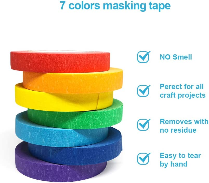 Painters Tapes for Crafts Party Decorations and More 0.4 Inch, 12 yd Colored Masking Tapes School Projects 7PCS Arts Rainbow Labelling Masking Tape Fun Supplies Kit for Kids and Adults
