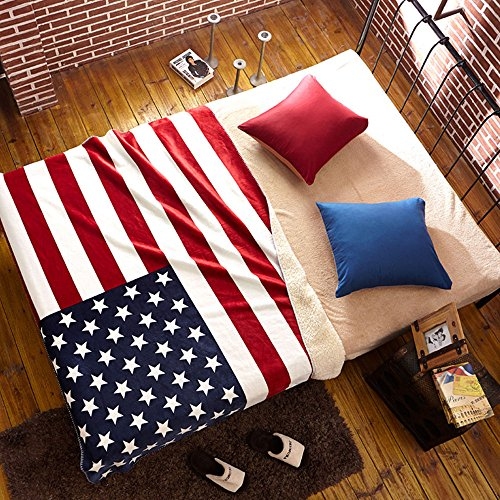 MARY ST UK Union Jack/USA United States Flag Sherpa Fleece Couch Throw Blanket (American -