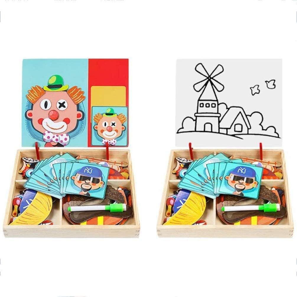 Detazhi Magnética Tablero de Dibujo de Madera Tarjeta magnética Puzzle Juegos de Doble Cara Jigsaw Granja Patte for Chicos, Chicas, H (Color : C) A