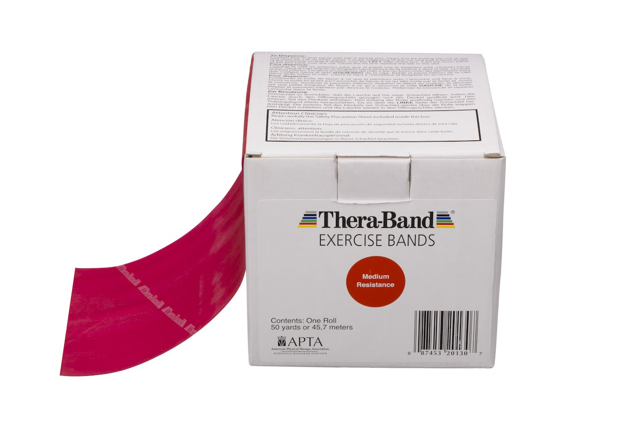 TheraBand Resistance Bands, 50 Yard Roll Professional Latex Elastic Band For Upper & Lower Body & Core Exercise, Physical Therapy, Pilates, At-Home Workouts, Rehab, Red, Medium, Beginner Level 3 by TheraBand (Image #1)