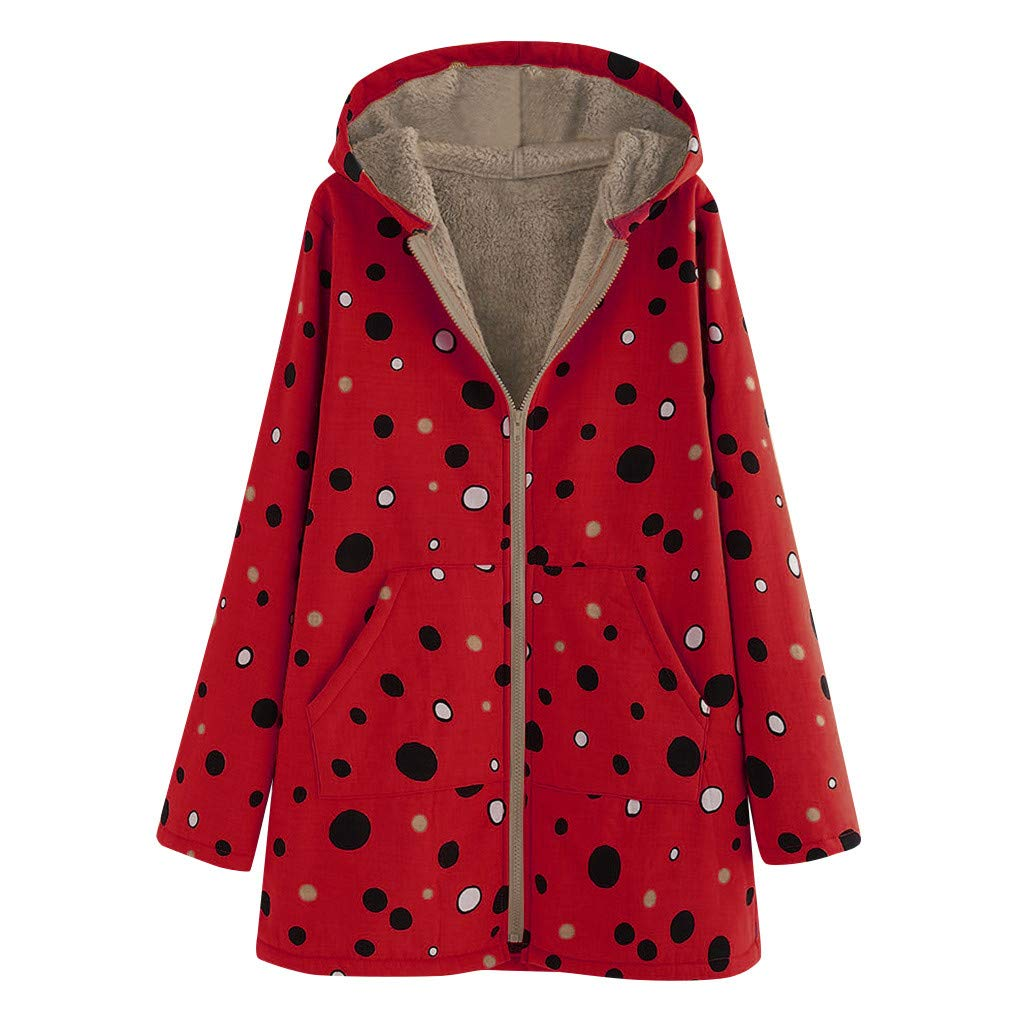 ZOMUSAR Women's Coat, Womens Winter Warm Outwear Dot Print Hooded Pockets Vintage Oversize Hasp Coats by ZOMUSAR