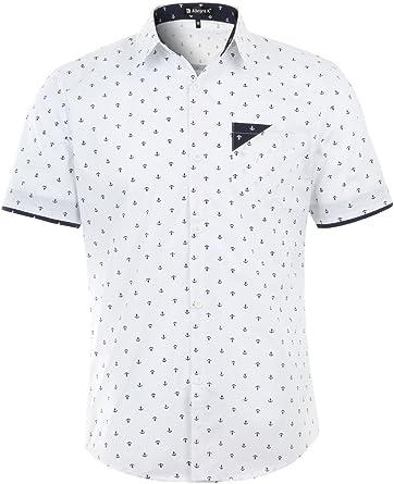 Allegra K Hombre Cuello De Punto Con Botones Manga Corta Ancla Diseño Camisa Informal