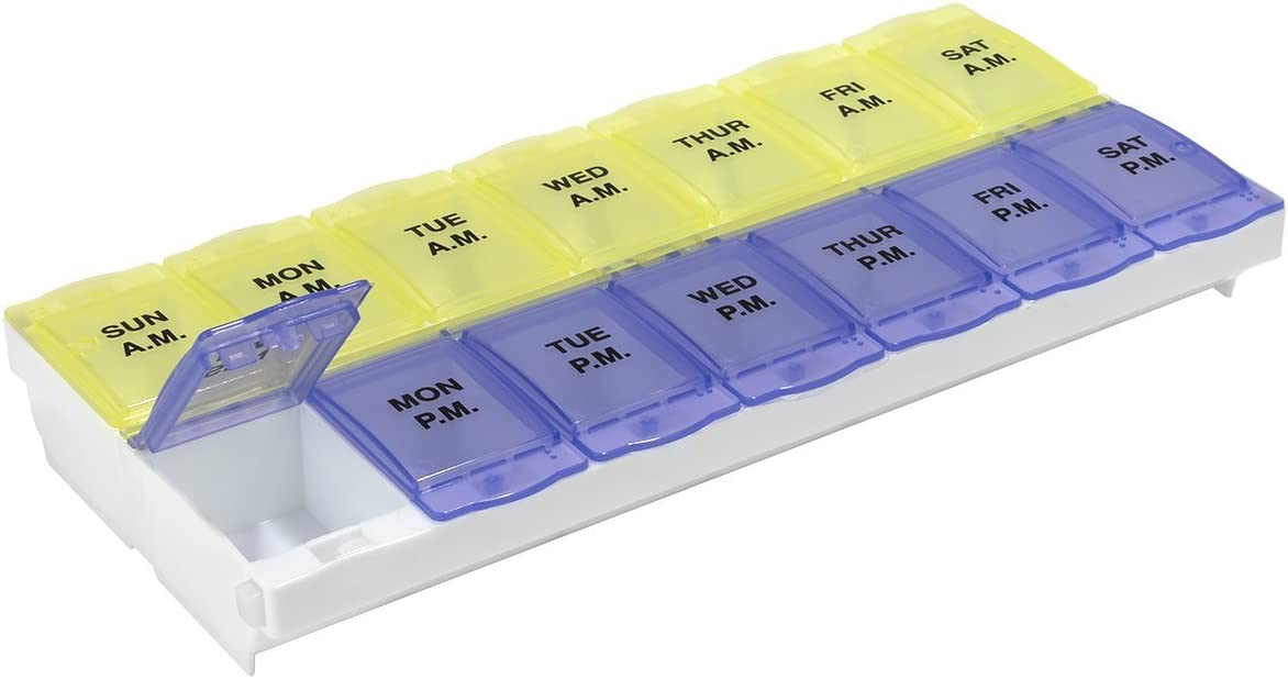 Ezy Dose Weekly Locking AM/PM Pill Organizer and Planner │Secure Prescription Medications │ Prevent Accidental Spilling (2XL)