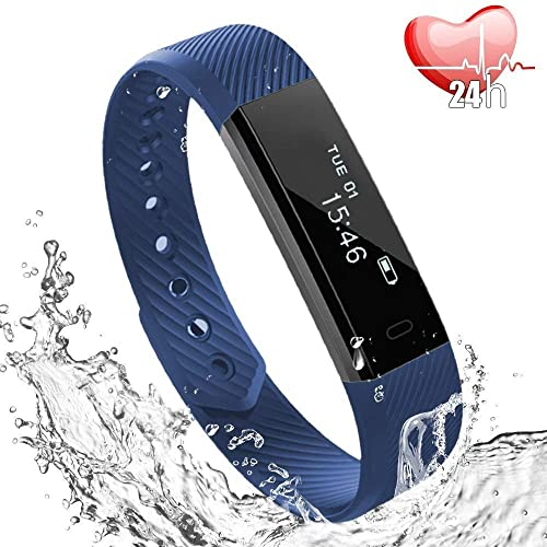 Fitness Tracker, Heart Rate Monitor Watch with Sleep Monitor and Step Counter, Waterproof Activity Tracker with Calorie Counter, Pedometer Watch for Kids Women Men -Blue