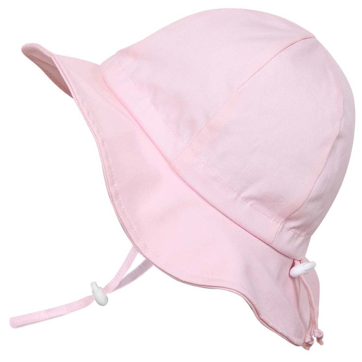 Twinklebelle Toddler Girls Breathable Sun Hat 50 UPF, Adjustable, Stay-On Tie, Foldable (M: 6-30m, Floppy Hat: Pink)