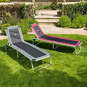 trail outdoor leisure Folding Reclining Sun Lounger, Adjustable Backrest, Portable Recliner, Beach, Camping, Garden, Folds For Easy Storage