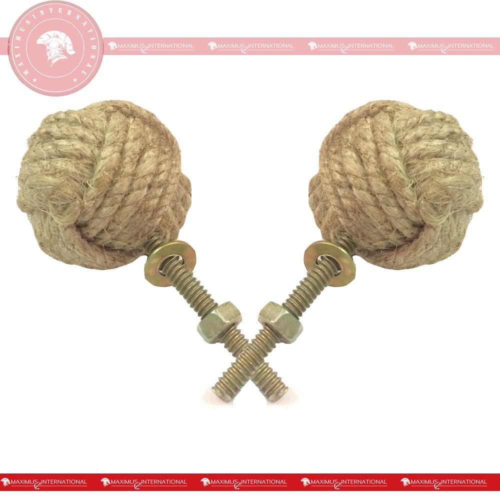 35 mm Set of 6 replicartz Jute Rope Door Knobs//Rope Knot Drawer Pulls and Knobs//Pull and Push Handle Knobs for Cabinets Wardrobes /& Cupboards//Nautical Hardware Decor
