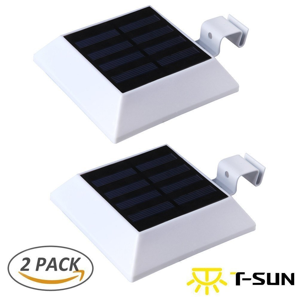 [2 PACK] T-SUN Solar Gutter Lights Motion Sensor Wall Light, 6 LED Solar Mtoion Security Night Light for Outdoor Garden, Fence, Patio, Garage(3000K Warm White)